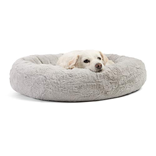 Best Friends by Sheri Luxury Faux Fur Donut Cuddler (23x23), Gray - Small Round Donut Cat and Dog Cushion Bed, Orthopedic Relief