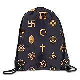 World Religiöse Symbole Fahrrad personalisierter Turnbeutel mit Kordelzug, Reiserucksack Tote Schulrucksack für Damen Herren