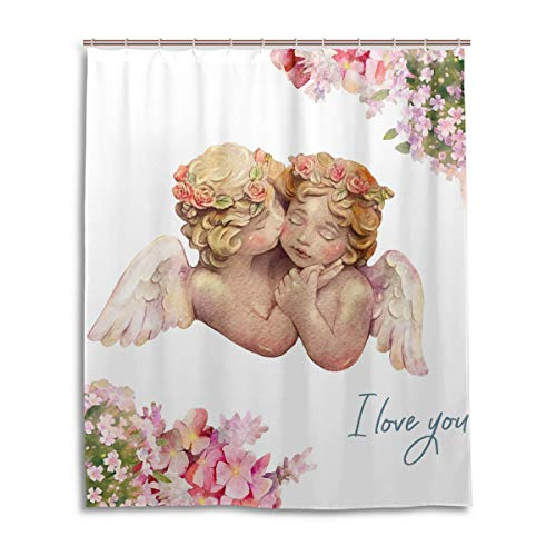 Angel Shower Curtain Couple Flowers Floral Bath Curtain Set Waterproof with 12 Hooks for Bathroom Decor 60x72 inches 2060760