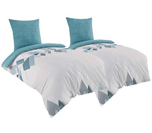 Leonado Vicenti Bettwäsche 135x200 4teilig Baumwolle Renforce weiß türkis geometrische Muster Streifen Garnitur mit Reißverschluss