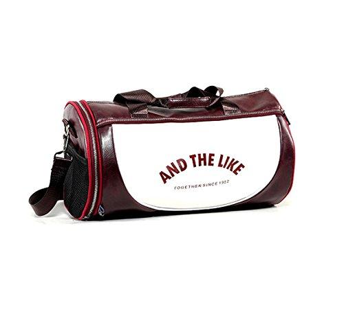 Quanjie Bolsa Gimnasio de Viaje Impermeable Bolsas Deporte PU Cuero Bolsos Deportivos Fin de Semana Travel Duffle Bag para Hombres y Mujeres (Rojo-1)