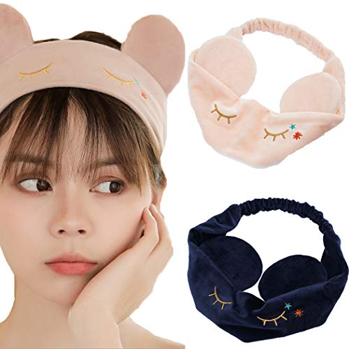 JONKY Pink Cute Bow Spa Headbands Soft Wash Bath Breathable Stretched Shower Hair Bands Yoga Best Gift Hair Wraps for Women and Girls (Pack of 2)