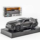 Camaro una y treinta y dos minutos de la aleación Diecast modelo de coche Tire hacia atrás sonido de la luz Kids Toy Cars Collection Vehículos for los regalos de los niños Машинки ( Color : Negro )