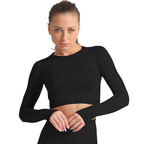 SotRong Damen-Shirt, modisch, mit Lochmuster, für Workout, Fitness-Studio, langärmliges Yoga-T-Shirt, sportliches Outfit Gr. Asiatisch Small, Schwarz 1