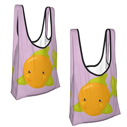 Bolsas de comestibles de color naranja para mascotas reutilizables, ecológicas, paquete de 2, (Como se muestra), Talla única