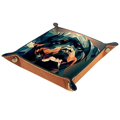 Bandeja de dados de metal para juegos de rol, DND y otros juegos de mesa, soporte para dados, mesa de protección, doble cara plegable Sqaure PU cuero ilustración de perro