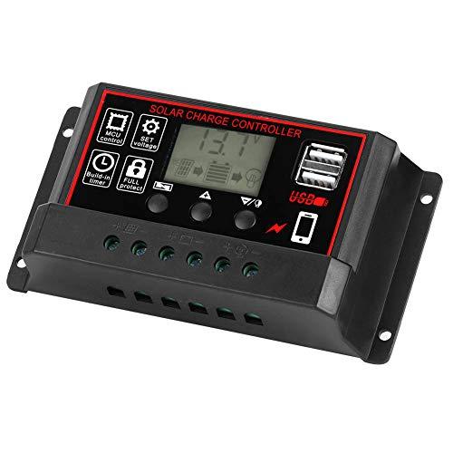 AMONIDA Controlador de energía Solar Inteligente USB, Controlador de Carga Ajustable, Uso Comercial de Patio al Aire Libre para el hogar