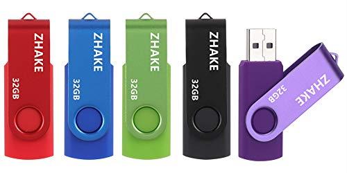 USB Sticks 32GB Memory Stick 2.0 Speichersticks 5 Stück Flash-Laufwerke PenDrive (5 Bunt: Schwarz Blau Grün Rot Silber)