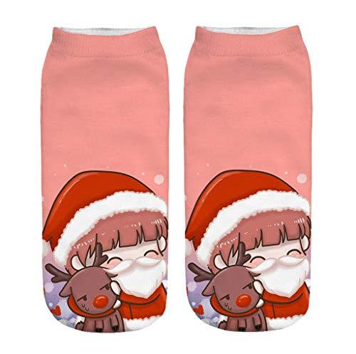 Lazzboy Socken 3d Christmas Santa Elk Printing Medium Sportsocken Unisex Weihnachten Winter Kuschelsocken(G)
