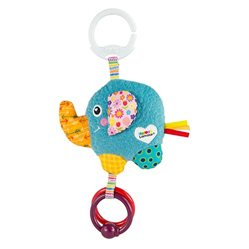 LAMAZE Mini Eloy the Elephant Baby Toy, Clip On Baby Pram Toy & Pushchair Toy, Newborn Sensory Toy for Babies Boys & Girls From 0 - 6 Months