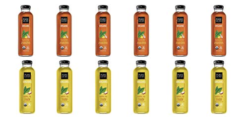 LUV BOX- Variety Pure Leaf Tea House Pack 14oz Glass Bottle, 12ct,Black Tea Sicilian Lemon Honeysuckle, Green Tea Fuji Apple Ginger