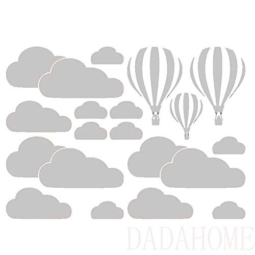 Stickers Muraux White Cloud Montgolfières Stickers Muraux Chambre Enfants Art Fond Stickers Muraux Accueil Décoration Salon Stickers Mural (Color : Silver)