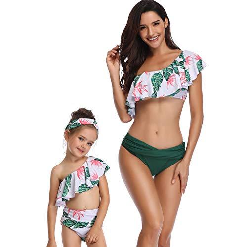 TUDUZ One Shoulder Mutter und Tochter Bikini Set High Waist Bedrucken Volant Eltern-Kind Kleidung Familien Badeanzug Damen Bikini(Medium,A-Grün)