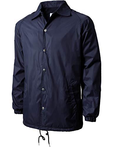 Mens Coaches Jackets Waterproof Windbreaker Coat Active Sportswear (3X-Large, 1vw6001_Navy)