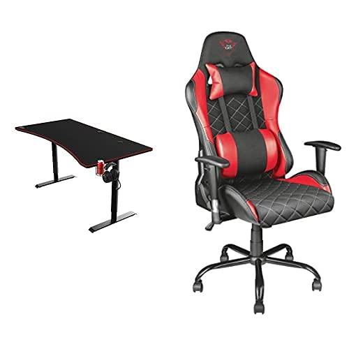 Trust Gaming GXT 1190 Magnicus XXL Wireless Charging Desk 160 x 82 cm GXT 707R Resto Ergonomic Chair Black/Red