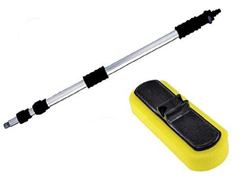 【洗車ブラシスポンジヘッド&ハンドル3.3mセット】 ボディに傷をつけたくない方に 伸縮通水タイプ ワンボ...