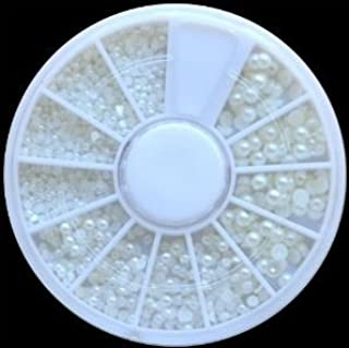 1800 Piece White Pearl Nail Art Tip 3D Design Decoration Wheel With Extra
