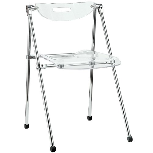 Modway Telescope Acrylic Folding Kitchen and Dining Room Chair in Clear