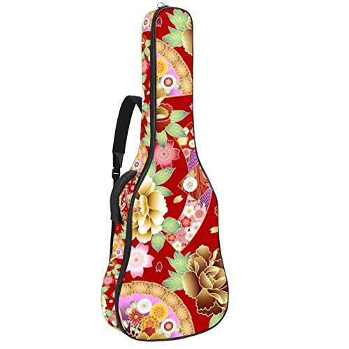 Bolsa de guitarra impermeable con cremallera suave para guitarra, bajo acústico y clásico folk guitarra eléctrica bolsa de bambú floral