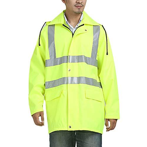 Loozykit Herren Warnschutz Warnjacke Reflektierender Regenmantel mit Kapuze Sicherheitsweste wasserdichte Regenjacke Arbeitskleidung Sicherheits-Regenmantel für Tätigkeit im Freien