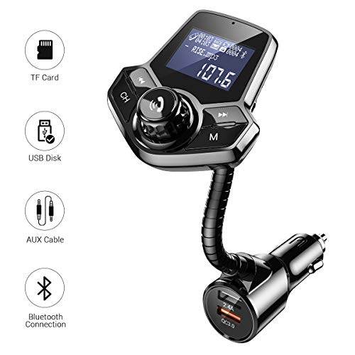 AINOPE (Upgraded Version) Bluetooth FM Transmitter for Car,[QC3.0+2.4A & Power On/Off] Fm Transmitter for Car Bluetooth Radio Adapter Car Kit Hands Free Calling Support AUX Output,TF/SD Card,U-Disk