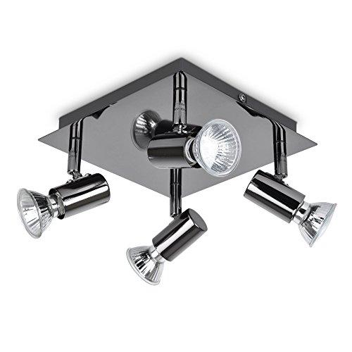MiniSun – Plafoniera moderna, quadrata e bella con una finitura cromata nera e 4 faretti orientabili – lampada da soffitto