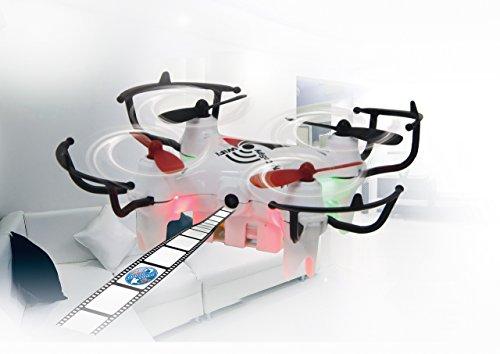 JAMARA 422038 - MiCoSpy FPV Drone WiFi Headless Flyback - 720 x 576px Video+Foto-Kamera, Track Following, steuerbar über Sender/App/G-Sensor, 4 kraftvolle Rotoren,360° Flip,LED,30 Km/h