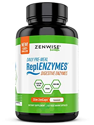 Daily Pre Meal Digestive Enzymes - Vegan & Non-GMO 11 Enzyme Blend - Gut Health Supplement for Bloating, Constipation & Gas Relief - with Bromelain, Lactase, Amylase & Lipase - 125 Slim Capsules