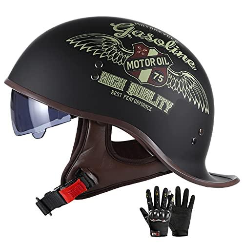 ZHANGYUEFEIFZ Casco Moto Abierto Jet Hombre Mujer ECE Homologado Retro Cascos Moto Scooter Half Helmet con Visera, Usable de Doble Cara, Regalo: Guantes (Color : A, Size : (M/57-58CM))