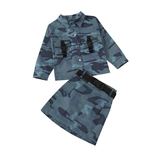 Kleinkind Baby Mädchen Camouflage Rock Outfits Langarm Strick Cardigan Shirt Tops + Minirock Kleid Herbst Kleidung Set