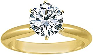 Near 1/2 Carat Round Cut Diamond Solitaire Engagement Ring 14K White Gold 6 Prong (J, I2, 0.45 c.t.w) Very Good Cut