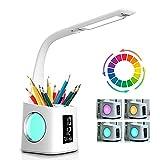 Lampe de bureau LED Eye-Caring Lampe de Table D'étude Port de charge USB Lumière de L'atmosphère Nocturne avec Porte Stylo/Écran Heure/Calendrier 3 Niveaux Dimmable Lampe de Lecture pour Enfants 10W