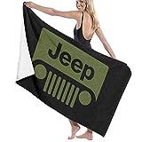 AGHRFH Serviette de Plage Unisexe Jeep Cjღ Logo Voiture Serviette de Bain Douce...