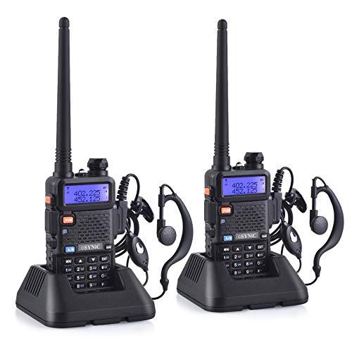 eSynic Walkie Talkie 2X UV-5R Banda Dual Baofeng 65 MHz~108MHz VHF/UHF LED FM 128 Memoria Canales de Dos vías Radio Auricular Walky-Talky Commercial Receptor de FM Radio Soporta VOX