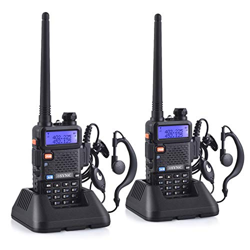 eSynic 2Pcs UV-5R Dual Band VHF/UHF with LED Display 128 Memory Channel with Rechargable and Radio Function Supports VOX for Construction Site Outdoor Activities etc with USB Charge Base