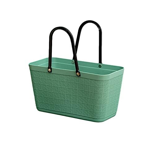 ZRJ Picnic Cesta de Picnic PP Portátil PP Compras de Plástico Bolsas de Comestibles Easy Storage para Compras de Viaje Camping Exterior (Color : Green)