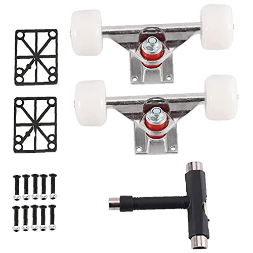 Hainice Skateboard Accessories Kit con Puente Rebuild Set Cruiser Wheels T Tipo Llave Blanco