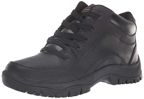 Dr. Scholl's Shoes Women's Charge Slip-Resistant Work Boot, Black Leather, 10.5 Wide