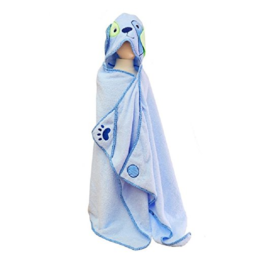 Hooded Towel, Blue Dog with Paws and Tail for Toddlers and Children, Extra Soft and Large, for use at Bath, Pool, and Beach. Designed by Frenchie Mini Couture