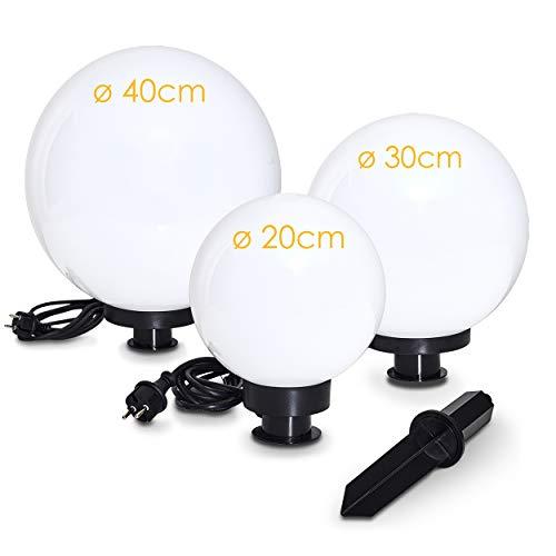 Kugelleuchte Miau, Kugellampe 3er Set, Außenleuchten aus weißem Kunststoff Ø 20, 30 und 40 cm, Leuchtkugeln mit E27-Fassung, Kugellampen mit 5 Meter Zuleitung