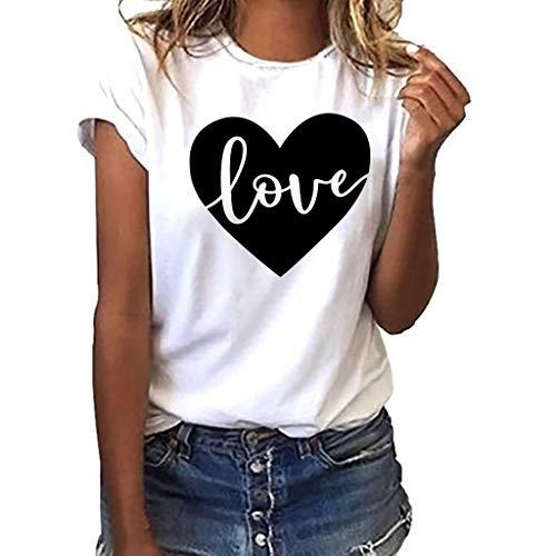TWIFER Damen Sommer Shirt Mit Logo Mädchen Plus Size Gedruckt Tees Shirt Kurzarm T Shirt Bluse Tops