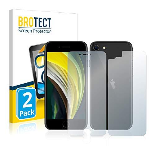 BROTECT Protector Pantalla Compatible con Apple iPhone SE 2 2020 (Frontal + Trasera) Protector Transparente (2 Unidades) Anti-Huellas