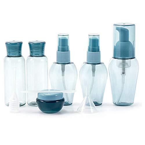 Botellas de Viaje Recargables, Juego de 6 envases vacíos para cosméticos con Embudo, Pajita para líquidos, emulsión de Agua