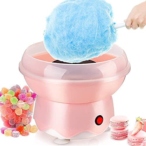 Kacsoo Mini Automatische Zuckerwattemaschine für den Heimgebrauch der Kinder, Runde Heizrohr Automatische Zuckerwattemaschine, Haushalt DIY Zuckerwattemaschine für Kinder, Geburtstagsfeier (Rosa)