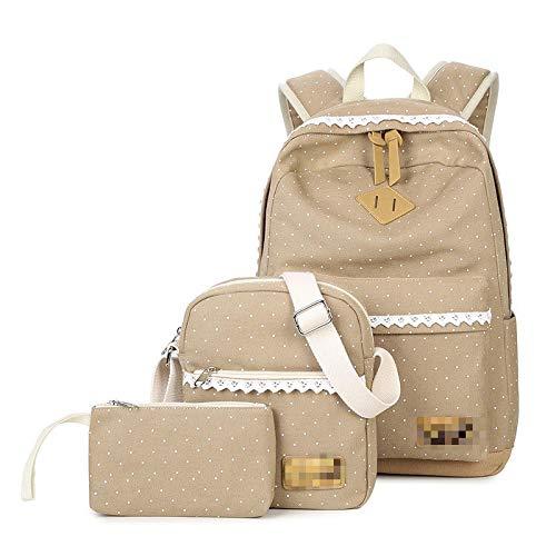 MLOPPTE Nuevo diseño 3 unids / set mochila para mujer, mochilas escolares de moda para adolescentes, bolso multifunción para mujer, mochila clásica para viaje, caqui