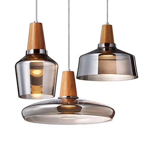 Hedendaagse hanglampen 3 heads hout-Hand geblazen glas hanglamp, retro loft glazen scherm binnen eettafel hanglamp, hanglamp Brown Bar Café Leeskamer plafondlampen