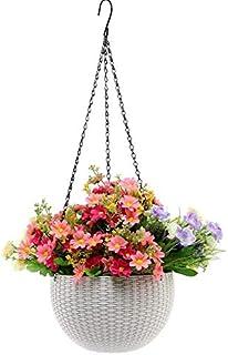 Creative Farmer Hanging Planter Round Decor Garden Rattan Plastic Flower Pot Basket for Plant, White (Set of 2)