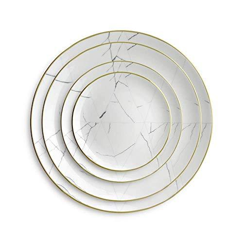 kyman Plato de la Cena de 4 Piezas del Hueso de la vajilla de China Restaurante del hogar Platos de Carne de Filete de la casa Cerámica (Color: Blanco, tamaño: uno Tamaño)