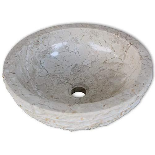 Lavabo in marmo rotondo, lavabo sopra il piano del bagno, 40 x 15 cm, colore: crema