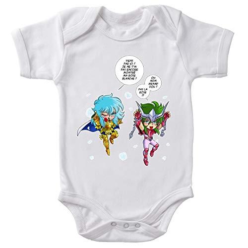 Okiwoki baby-body wit Saint Seiya, parodisch, Shun voor Android en Aphroditis van de vissen: liefdesfeesten, niet de oorbellen (Parodie Saint Seiya)